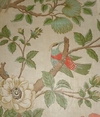 Antique French Floral Bird Tree of Life Chintz Cotton Fabric #1 ~ Celadon Coral