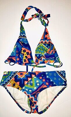 Vintage 1960s Mod Bikini Swim Suit Bark Cloth Flower Child Psychedelic Small