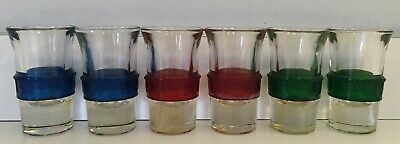 6 Vintage Shot Glass Set w/ Celluloid Band Rings BLUE GREEN RED Art Deco