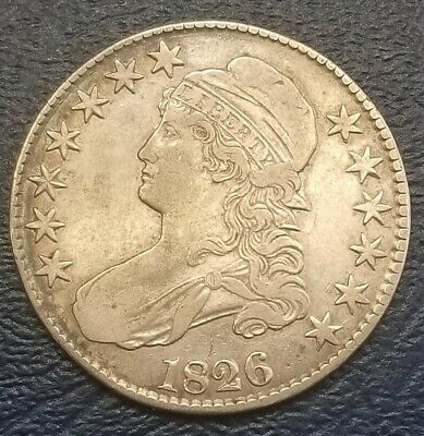 1826 Capped Bust Half Dollar VF+/XF Collector Silver 50c