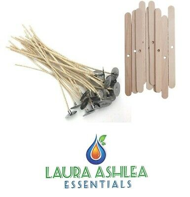 Candle wicks & Wooden Wick Holder Sets  - Candle Making Supplies