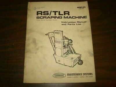 Tennant Rs Tlr Floor Scraping Parts & Operators Manual Bm397