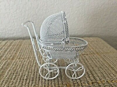"Vintage Metal 3.25"" Dolls' House Miniature Baby Pram Buggy Carriage"