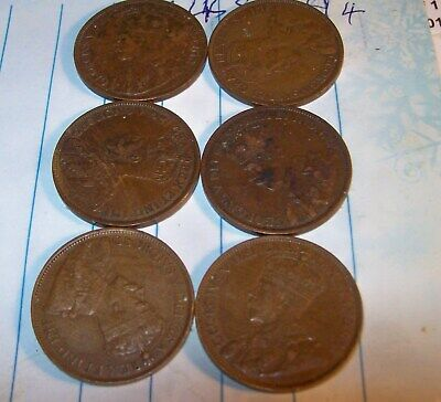 6 Large King George V Cents  All Very Nice.  1913 1914, 1915, 1916, , 1917, 1918
