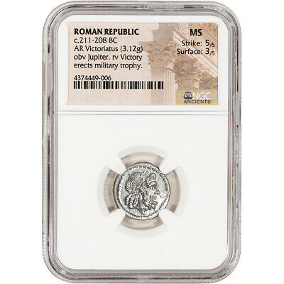 c. 211 208 BC Roman Republic AR Victoriatus Ancient Silver Coin - NGC MS