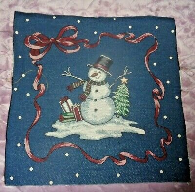 Country Snowman /& Christmas Tree Tapestry Table Runner Fabric Piece