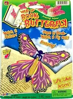 WIND UP BOOK FLYING BUTTERFLY Magic Trick Joke Prank Gag Gift Toy Bug Fly Card