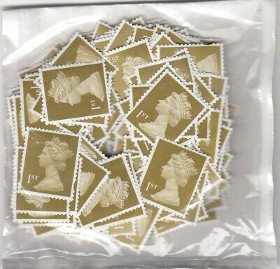 250 1st Class Gold Unfranked Stamps off paper. Non-security - No Gum. F/V £175
