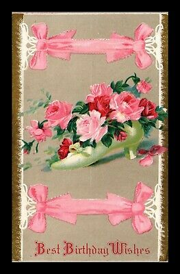 Dr Jim Stamps Us Best Birthday Wishes Embossed Flowers Topical Postcard