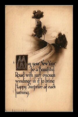 Dr Jim Stamps Us New Year Poem Greetings Topical Country Road Postcard