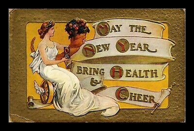 Dr Jim Stamps Us New Year Bring Health And Cheer Embossed Greetings Postcard
