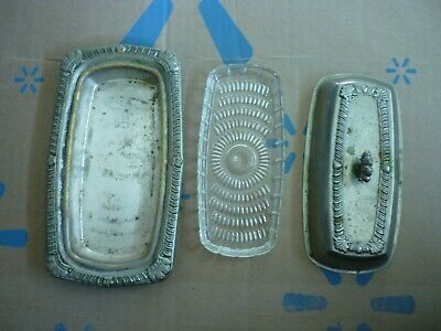 Saben silver plated butter dish with glass insert vintage antique