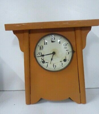 Antique American Arts & Crafts Painted Wooden Mantle Clock