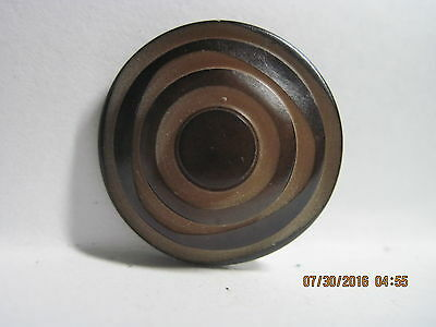 Antique 1900'S French/Euro Black Geometric Carved Layer Dome Bake/Cell Button