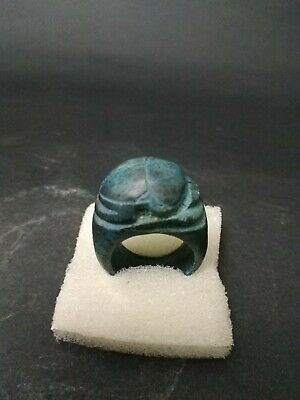 Rare Ring Ancient Egyptian Scarab Egypt Antique Faience Stone