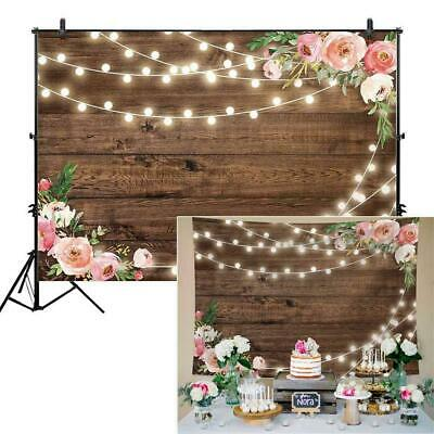 Floral Wooden Photo Studio Background Cloth Photography Backdrop Wall P0D