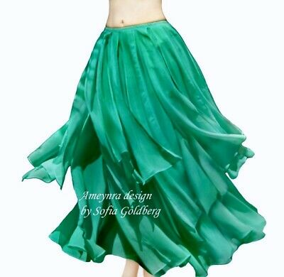 Ameynra Belly Dance Chiffon Skirt with Petals TEAL / AQUA GREEN color All sizes