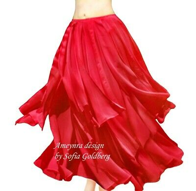 Ameynra Belly Dance Chiffon Skirt with Petals. RED. All sizes available