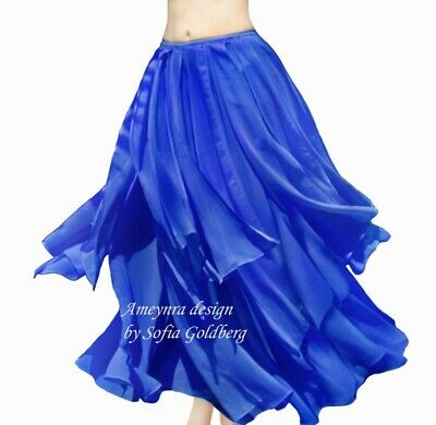 Ameynra Belly Dance Chiffon Skirt with Petals. BLUE. All sizes available