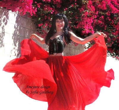 Double Circle Chiffon Skirt Ameynra Belly Dance Fashion New All Colors All Sizes