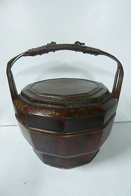 Chinese Lacquered Wooden Carry Basket Hand Painted Gilt