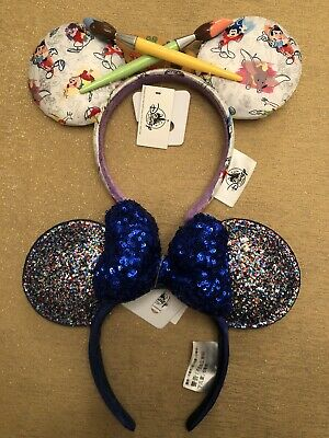 Disney Parks Ink & Pen Paintbrush Ears & Blue 2020 Minnie Ear Headband Set