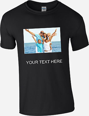 Personalised Your Photo Picture Custom Black Text T-Shirt Unisex Adults & Kid's