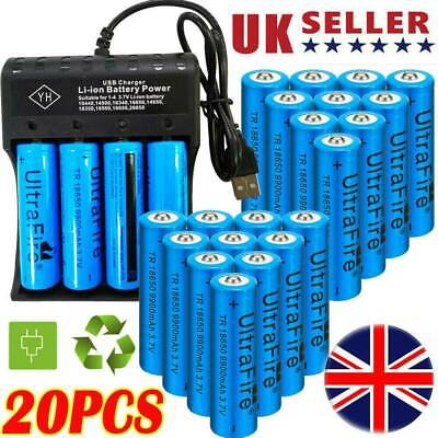 UK 20X UltraFire 18650 9900mAh Battery 3.7V Li-ion Rechargeable Battery Charger^