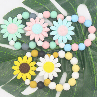 Lovely Beads Sunflower Bracelet Soft Silicone Baby Teether Chew Teething Toy