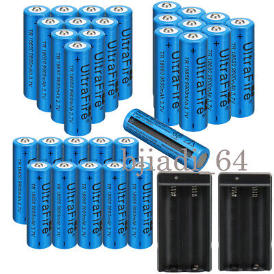 30× Ultrafire 18650 Batteries 9900mAh 3.7V Li-ion Rechargeable Battery Charger