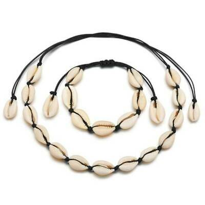 Fashion Women Shell Cowrie Beach Sea Pendant Choker Chain Necklace Bracelet CZ