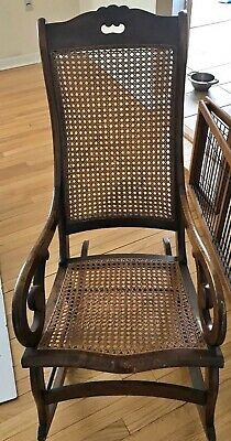 Beautiful Vintage Cane Adult Size Rocking Chair Dark Wood Carved  EUC