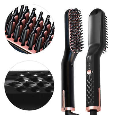Men Quick Beard Curling Straightener Brush Hair Comb Straightening Show Cap Iron