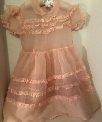 Vintage Girls Pink Ruffles of Lace Organdy Party Dress