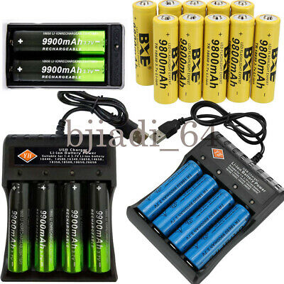 18650 3.7V 9900mAh/9800mAh Rechargeable Li-ion Lithium Battery Charger UK'