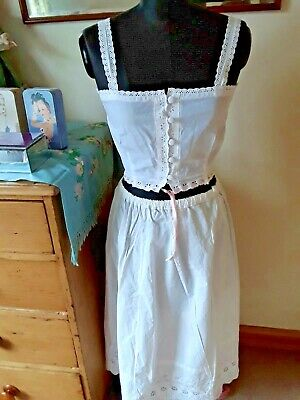 Victorian Edwardian Ladies Cotton Camisole And Petticoat