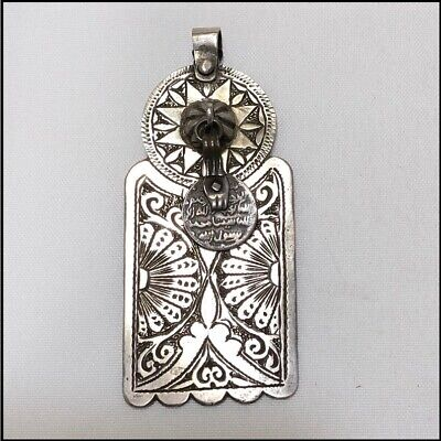 Ethnic Moroccan Vintage Antique Old Silver Large Pendant Engraved Lawh With Coin