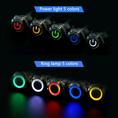 12V LED Pressure Switch On / Off Push Button Metal Push BuPTH