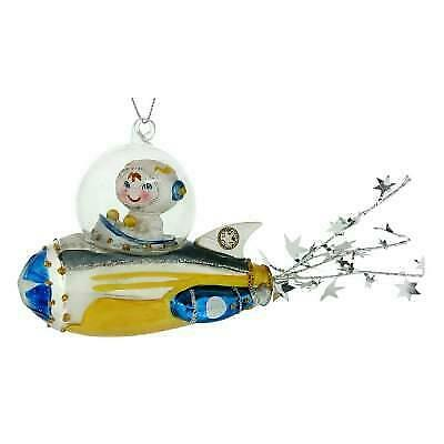 "BOY ASTRONAUT IN SPACESHIP GLASS ORNAMENT 4"" Retro Sci Fi Christmas Tree NEW"