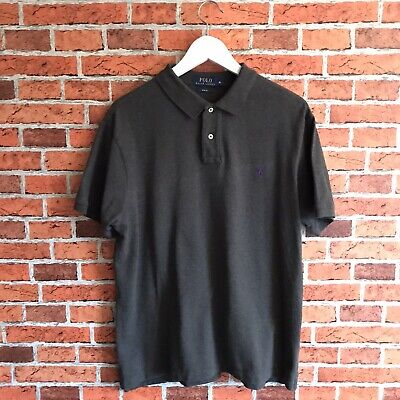 Ralph Lauren Polo Shirt Size XL Slim Fit Charcoal Grey Menswear Essentials
