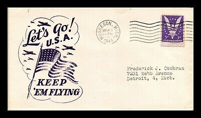 Dr Jim Stamps Us Patriotic Military Airplanes Cover Wwii 1944 Muskegon Michigan