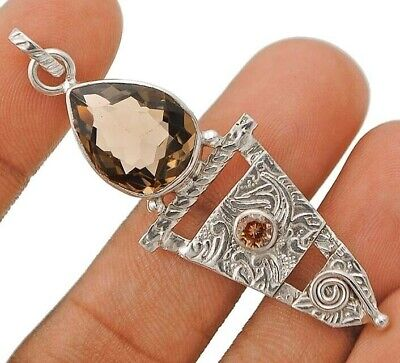 12CT Natural Smoky Topaz 925 Solid Sterling Silver Pendant Jewelry EA22-2