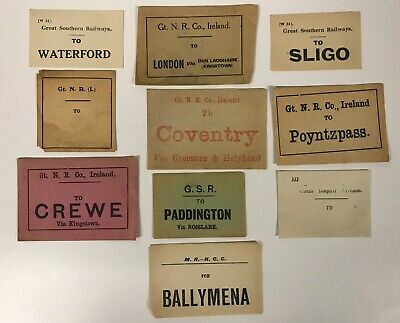 Irish Railway luggage labels Sligo Ballymena Poyntzpass Waterford [18553]