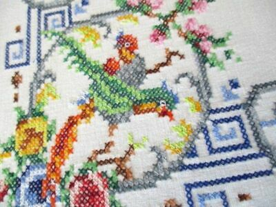 Vintage Tablecloth Hand Embroidered Birds & Flowers Tiny Cross Stitch
