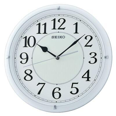 Seiko QXA734W Luminous White Dial Analog Wall Clock with Arabic Numerals - White