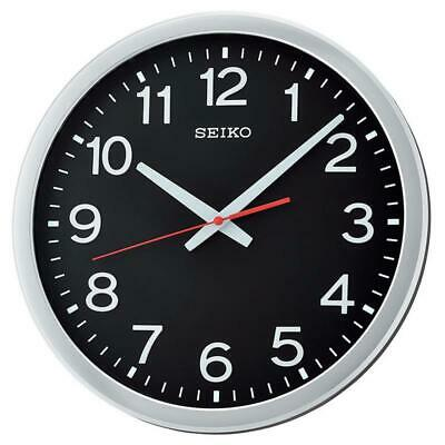 Seiko QXA732S Round Black Dial Wall Clock with Arabic Numerals - Metallic Silver