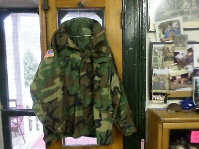 Beautiful Woodland Camo Field Jacket  Rare Large Size. Patches All Over -Us Army