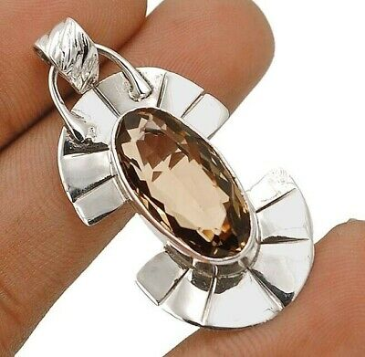 Natural 12CT Smoky Topaz 925 Solid Sterling Silver Pendant Jewelry EA22-4