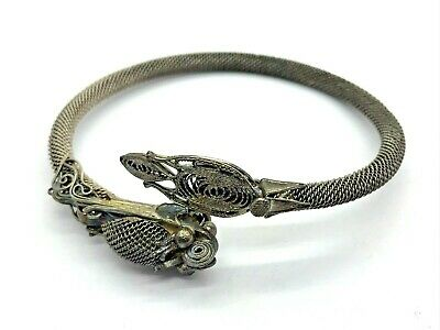Antique Chinese Export 800 Silver Signed Mesh Spun Dragon Bangle Bracelet