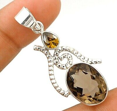 12CT Smoky Topaz 925 Solid Genuine Sterling Silver Pendant Jewelry EA22-3